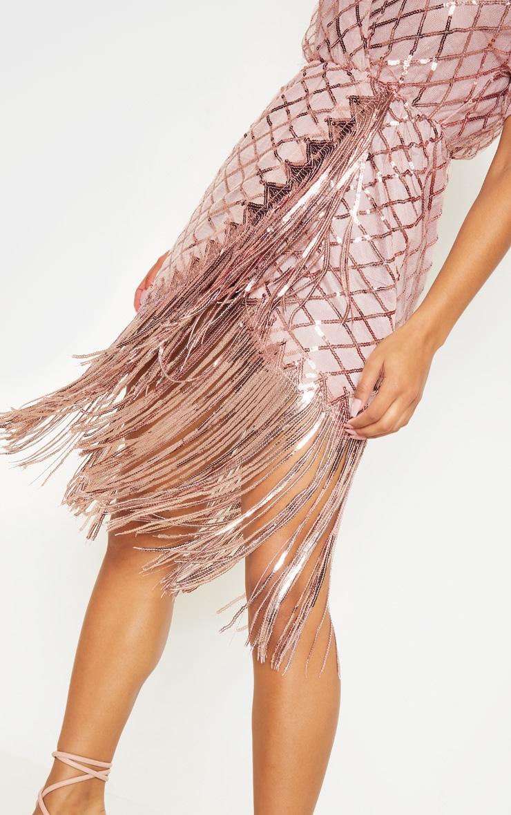 Dusty Pink Short Sleeve Sequin Tassel Shift Dress 5