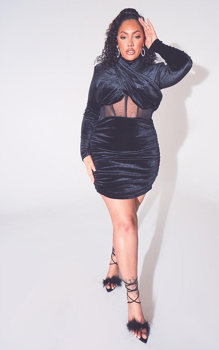 Plus Black Velvet Shoulder Pad Mesh Panel Midi Dress 1