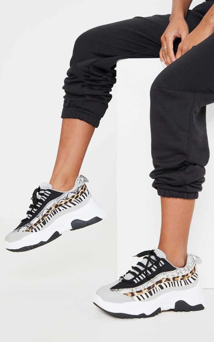 Grey Animal Print Contrast Bubble Sole Trainer 2