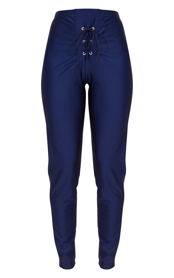Navy Lace Up Disco Trousers 3
