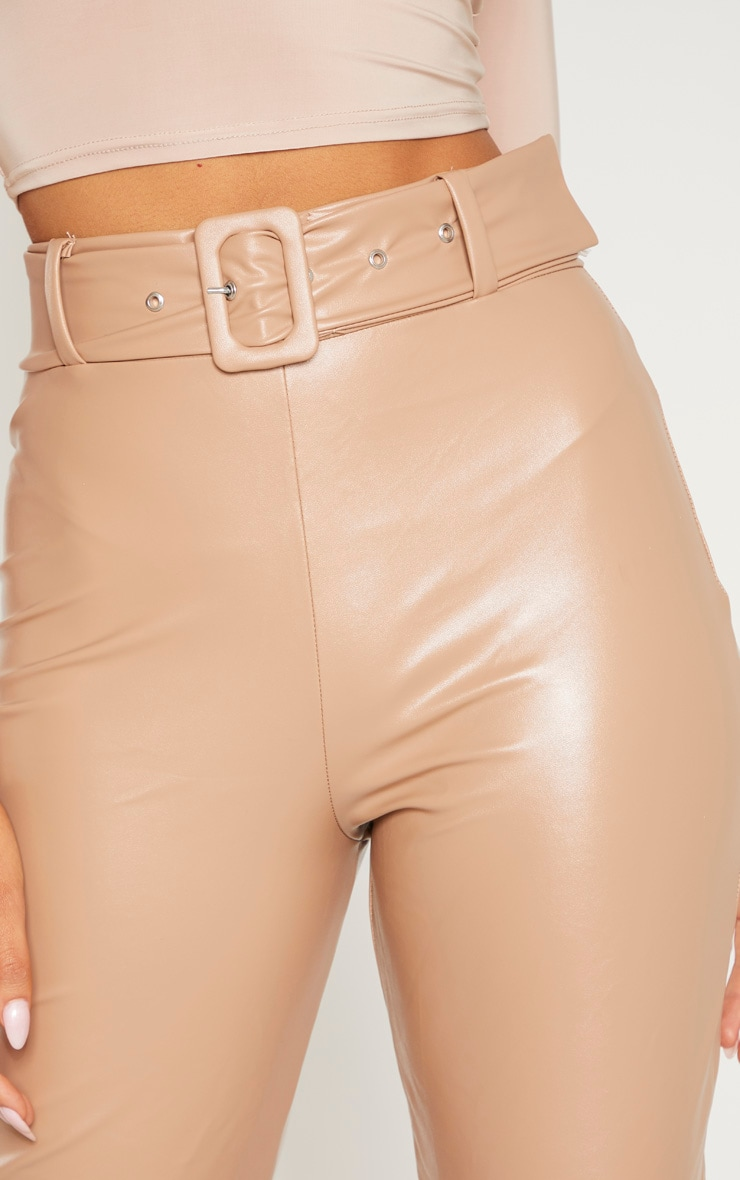 Stone Faux Leather Belted Skinny Trouser  5