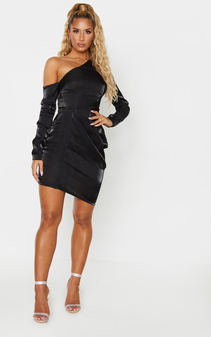 Black Metallic One Shoulder Drape Bodycon Dress 4