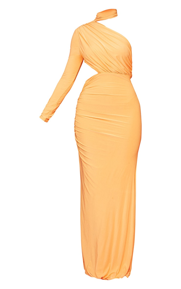 Tangerine Ruched One Shoulder Maxi Dress 5