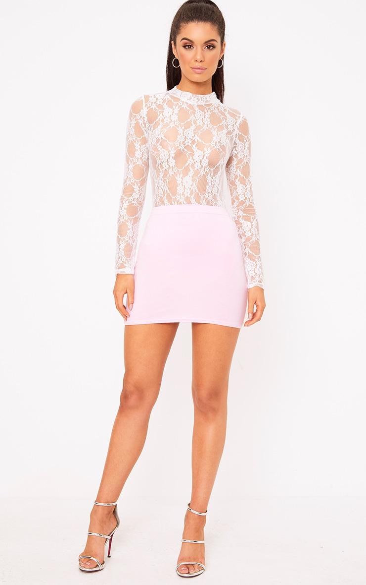 Baby Pink Basic Mini Skirt 5