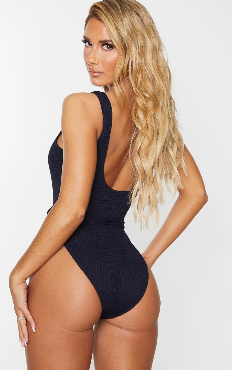 Black Tie Waist Crinkle Swimsuit 2
