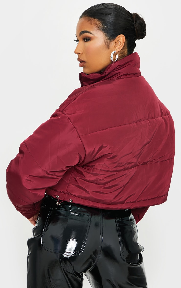 Maroon Nylon Super Cropped Toggle Hem Puffer Jacket 2