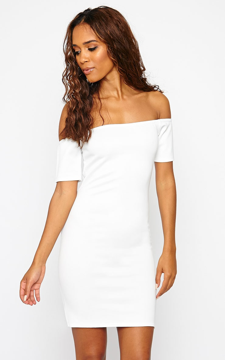 Basic Cream Bardot Bodycon Dress 4