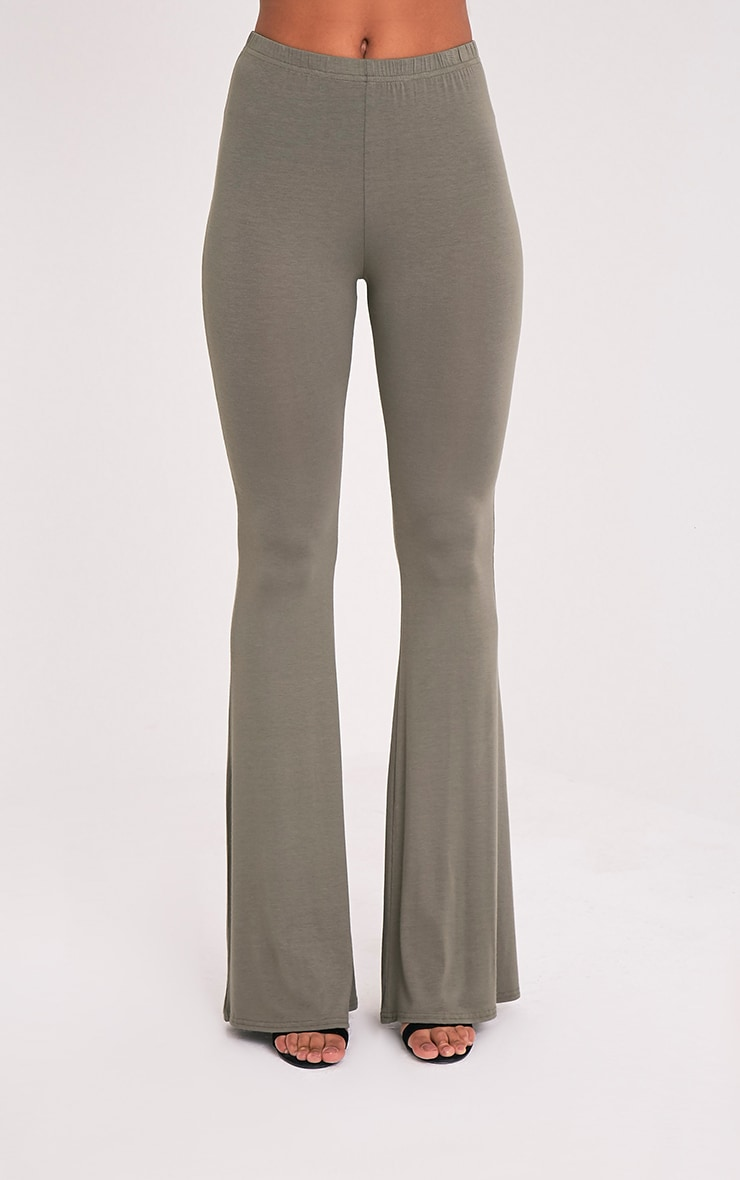 Basic Khaki Jersey Flared Trousers 2
