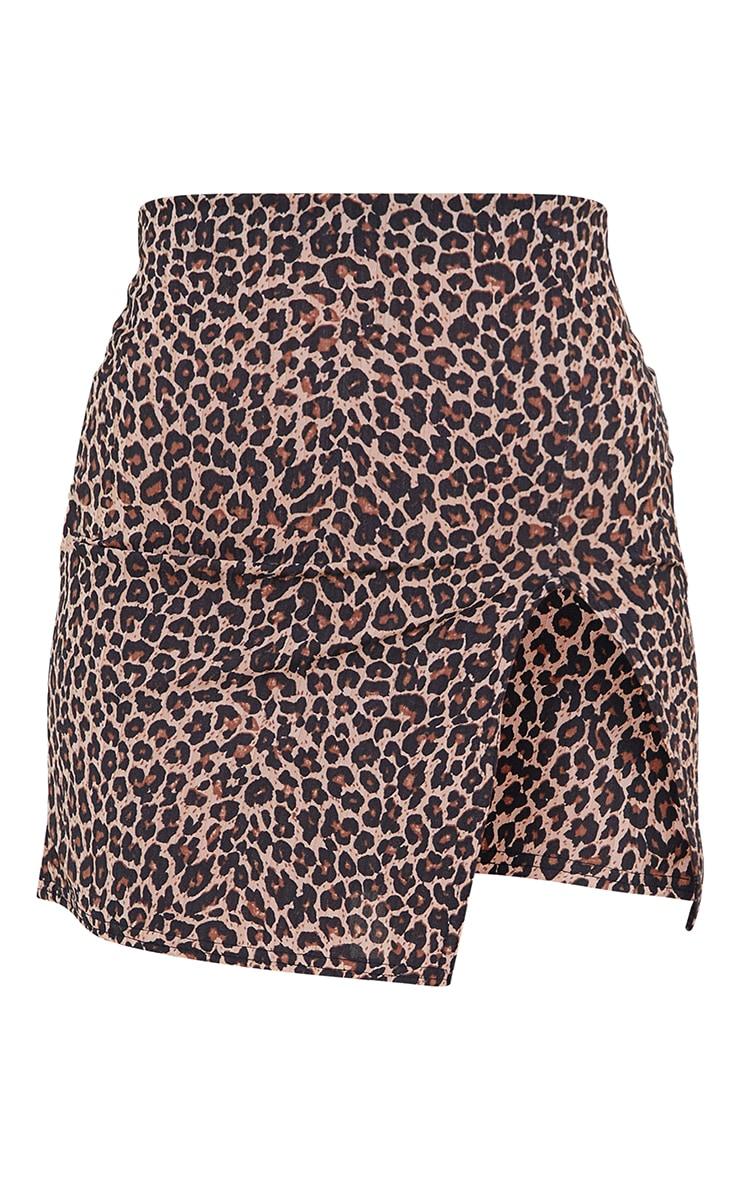 Brown Leopard Print Rib Split Front Mini Skirt 6