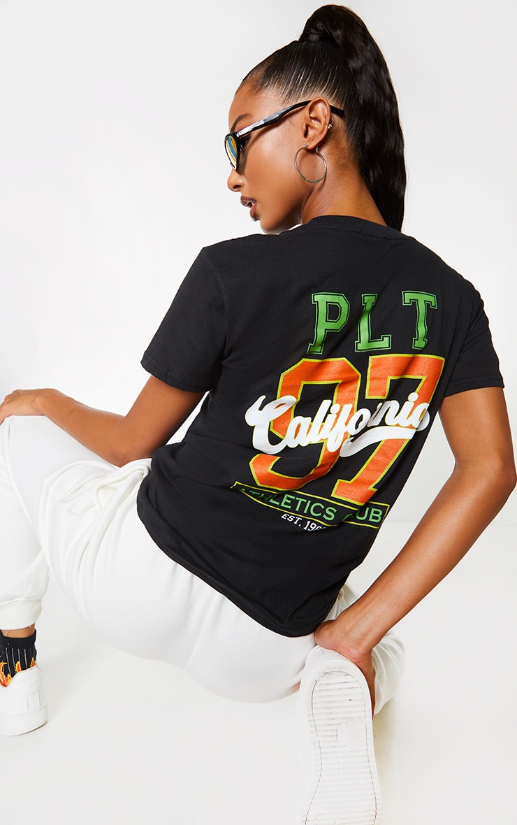 Black Athletics Club Back Slogan T Shirt 1