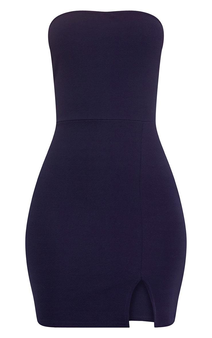 Layala robe moulante bandeau détail fente bleu marine 3