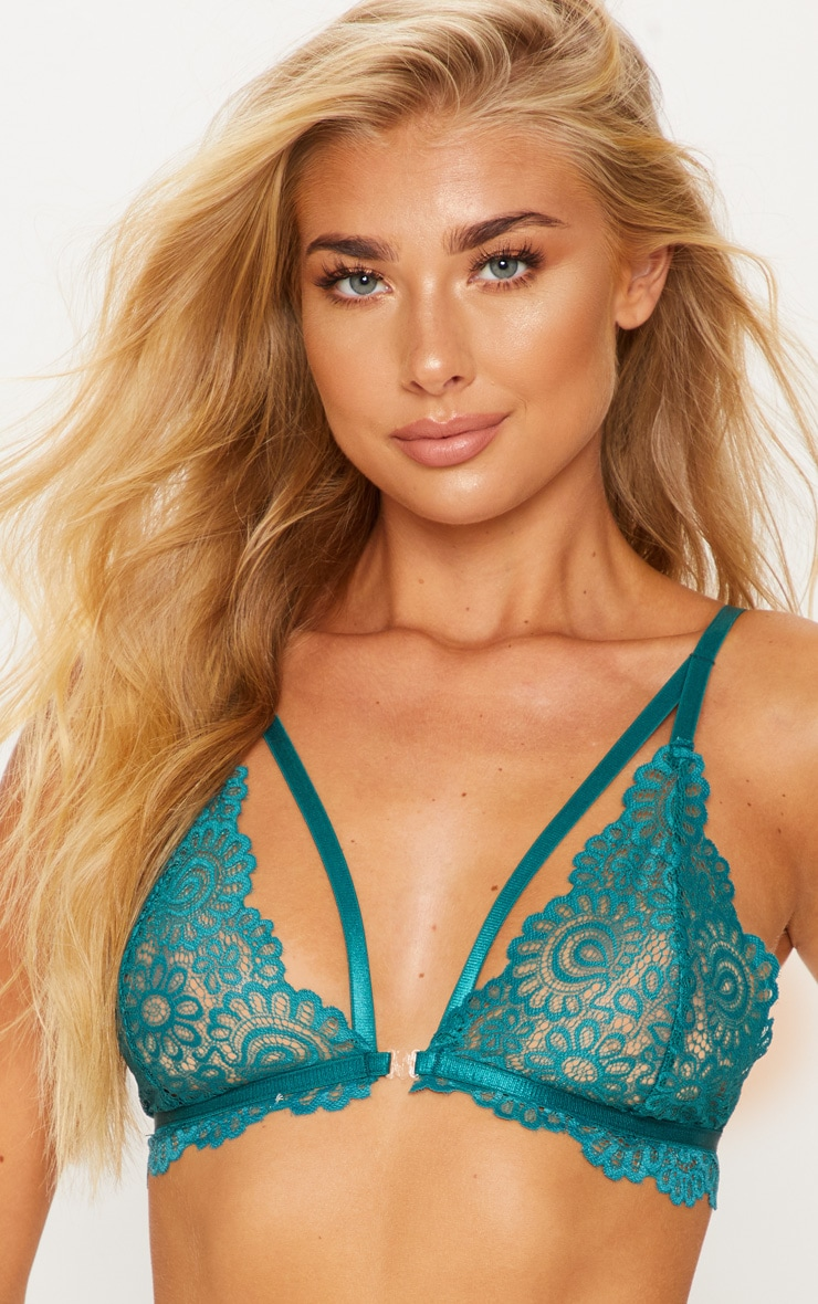Emerald Daisy Lace Harness Front Hook Bra 5