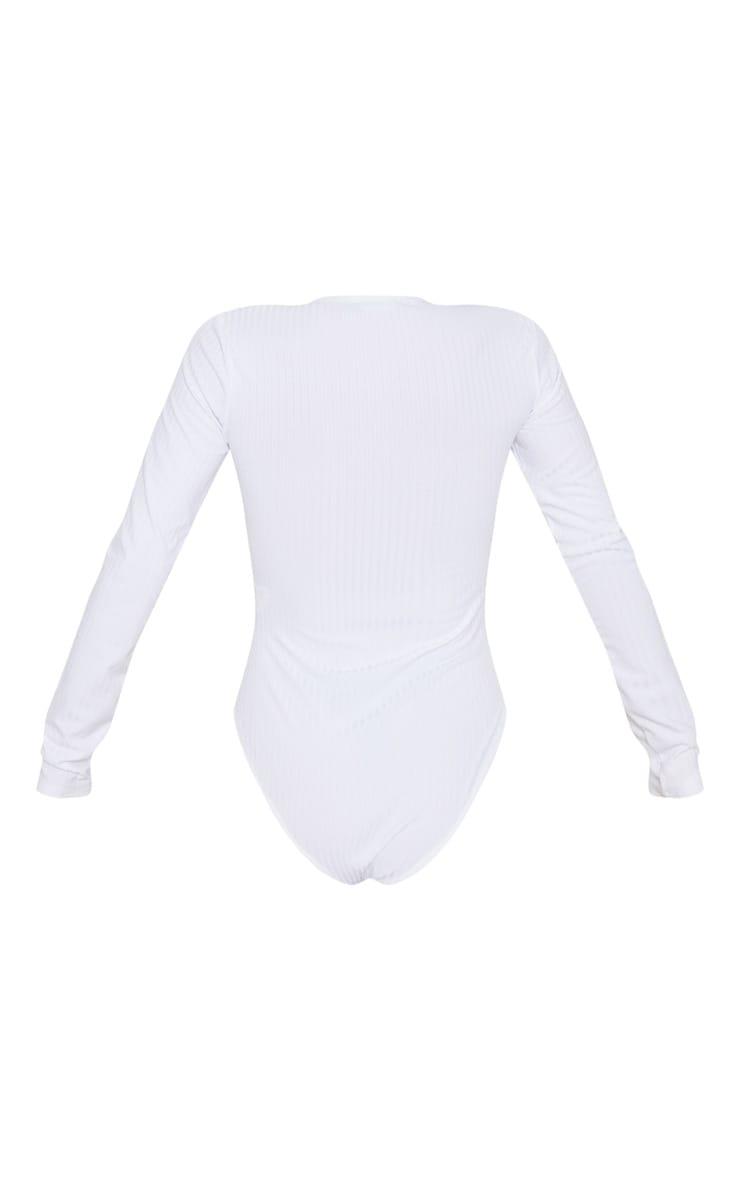 White Long Sleeve Button Rib Bodysuit 4