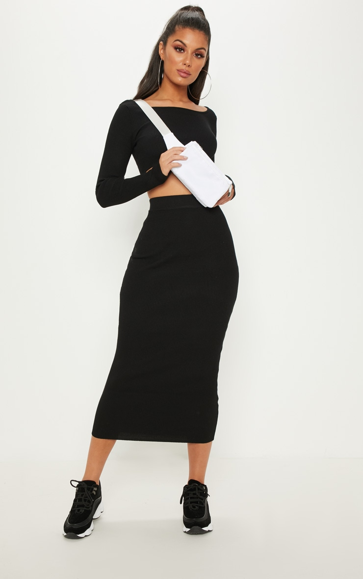 Black Knitted Midi and Crop Co Ord 1
