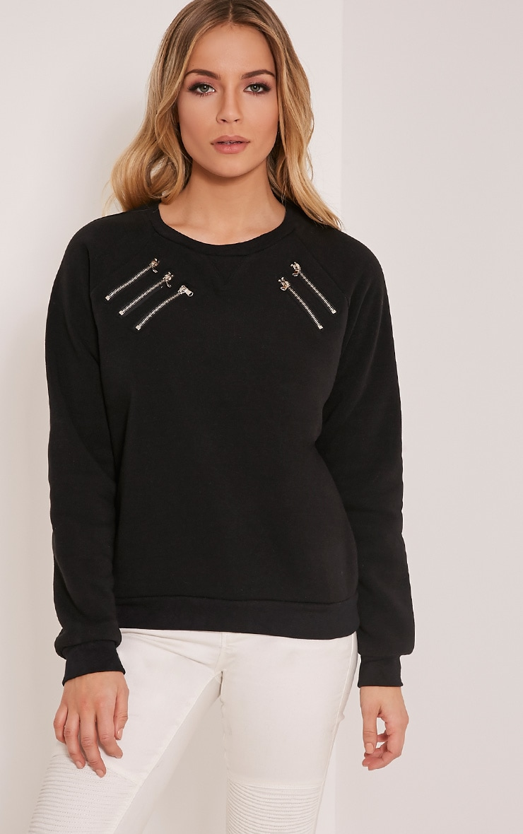 Monroe Black Zip Detail Sweatshirt 1