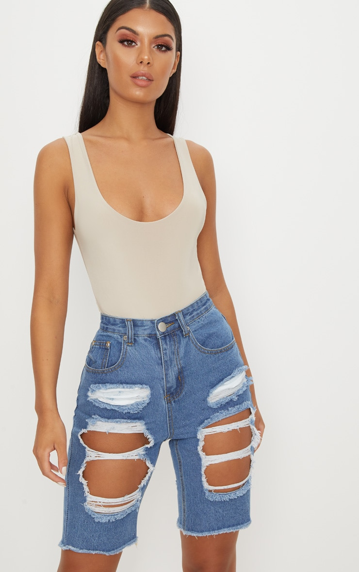 Mid Wash Extreme Distressed Denim Cycle Shorts 2