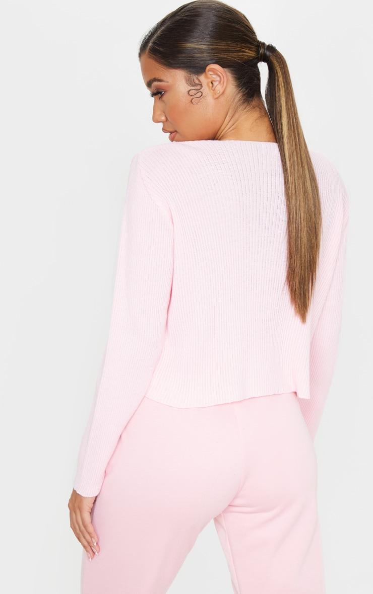 Baby Pink Tie Front Cardigan 2