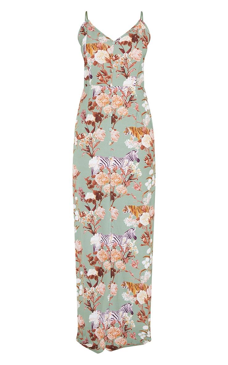 Sage Green Floral Print Button Through Maxi Dress 3