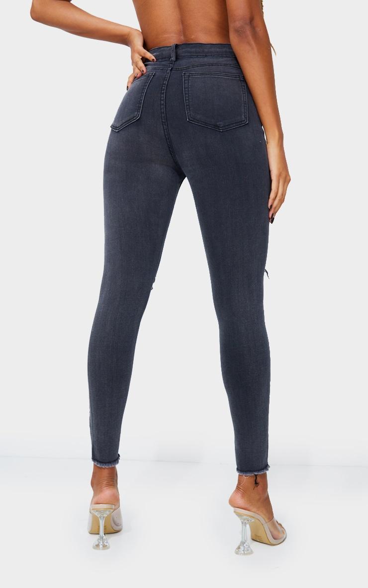 PRETTYLITTLETHING Washed Black Open Knee Raw Hem 5 Pocket Skinny Jean 3