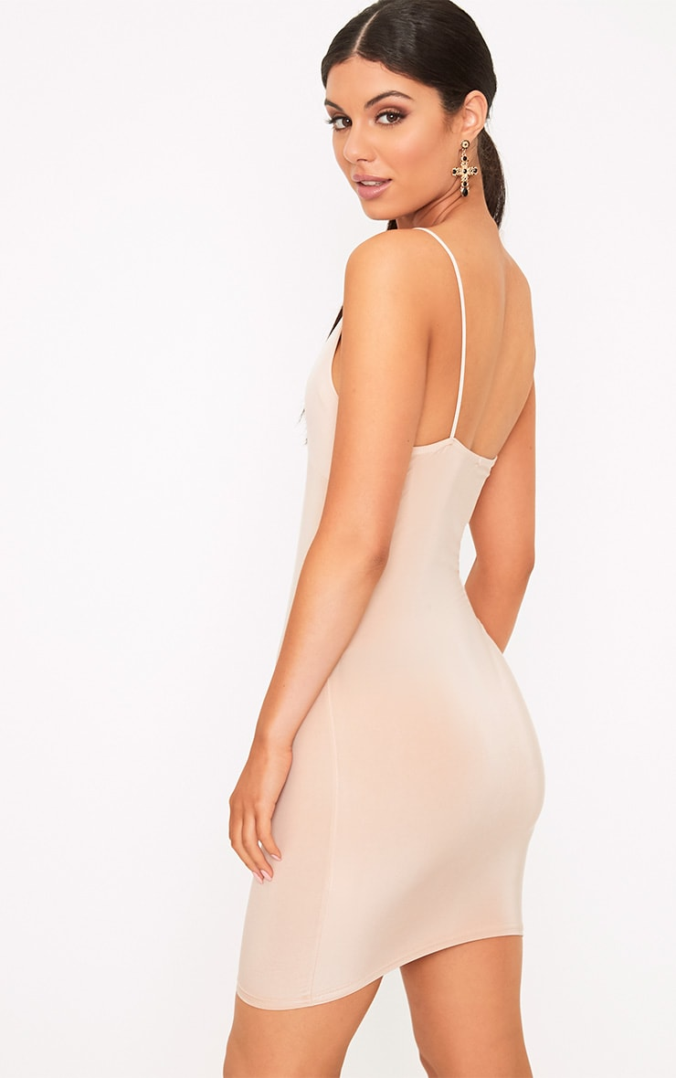 Seren Mesh Nude Bra Insert Bodycon Dress  2