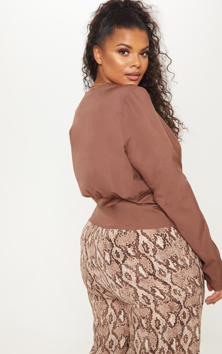 Plus Chocolate Brown Draped Button Detail Blouse 2