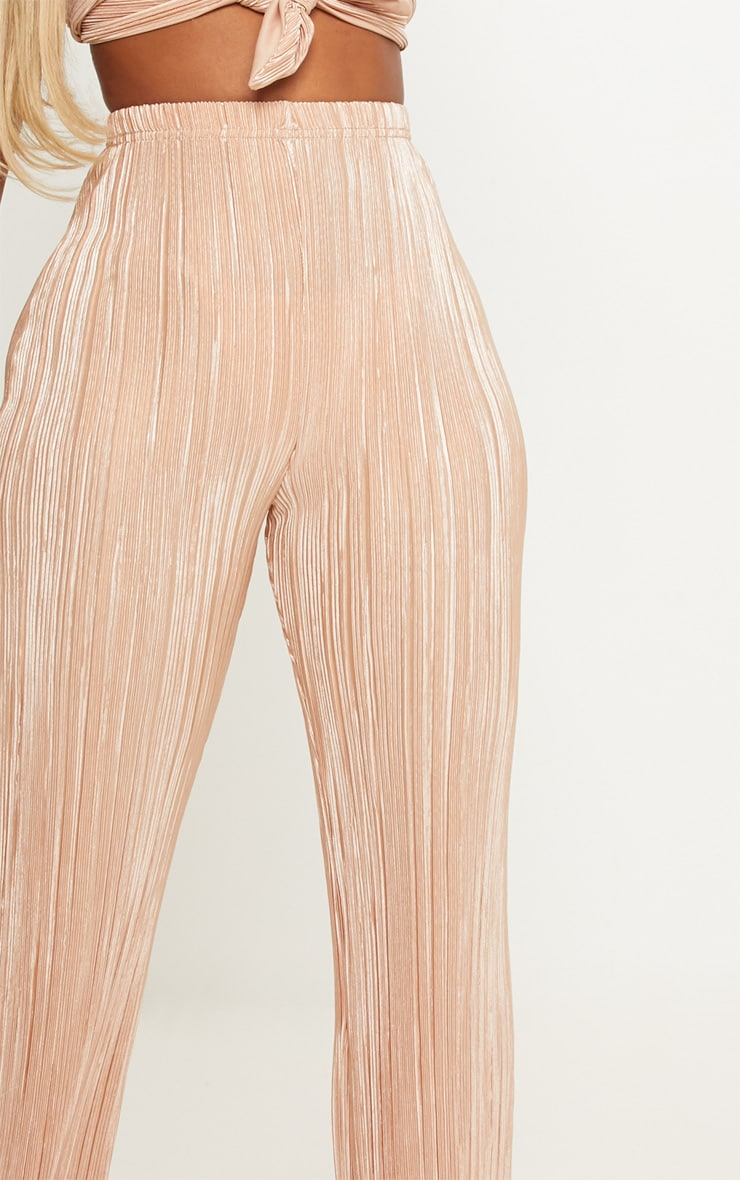 Shape Gold Pleated Metallic Wide Leg Trouser 5