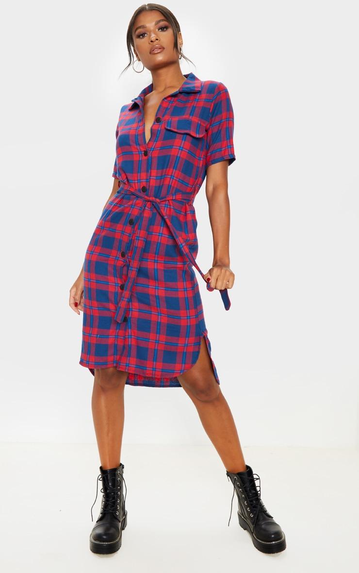 Red Checked Short Sleeve Shirt Dress 4