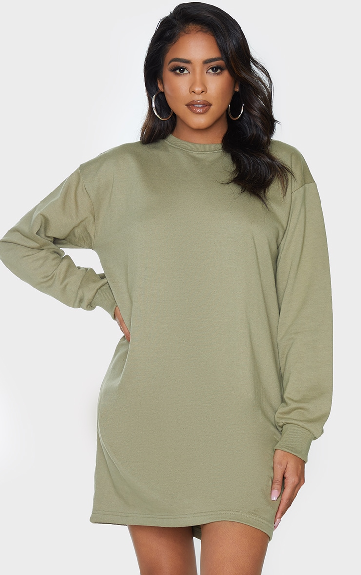 Khaki Basic Crew Neck Oversized Sweater Dress 1