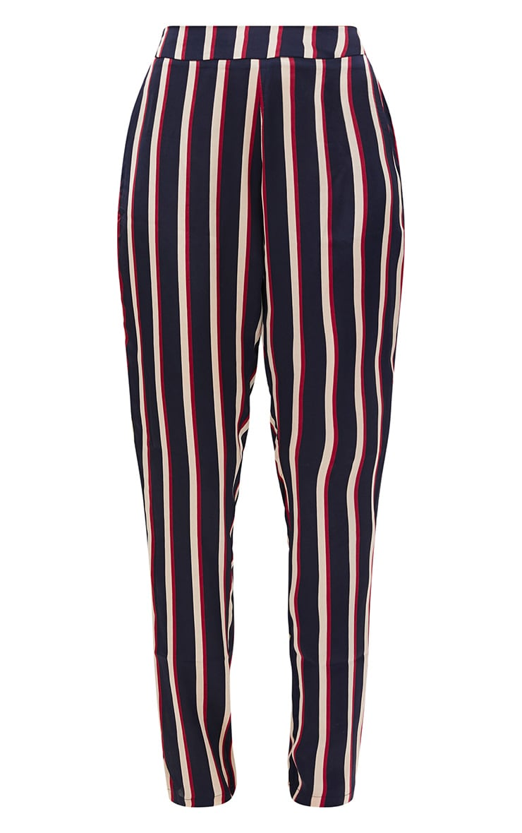Navy Satin Diagonal Stripe Peg Trouser  3