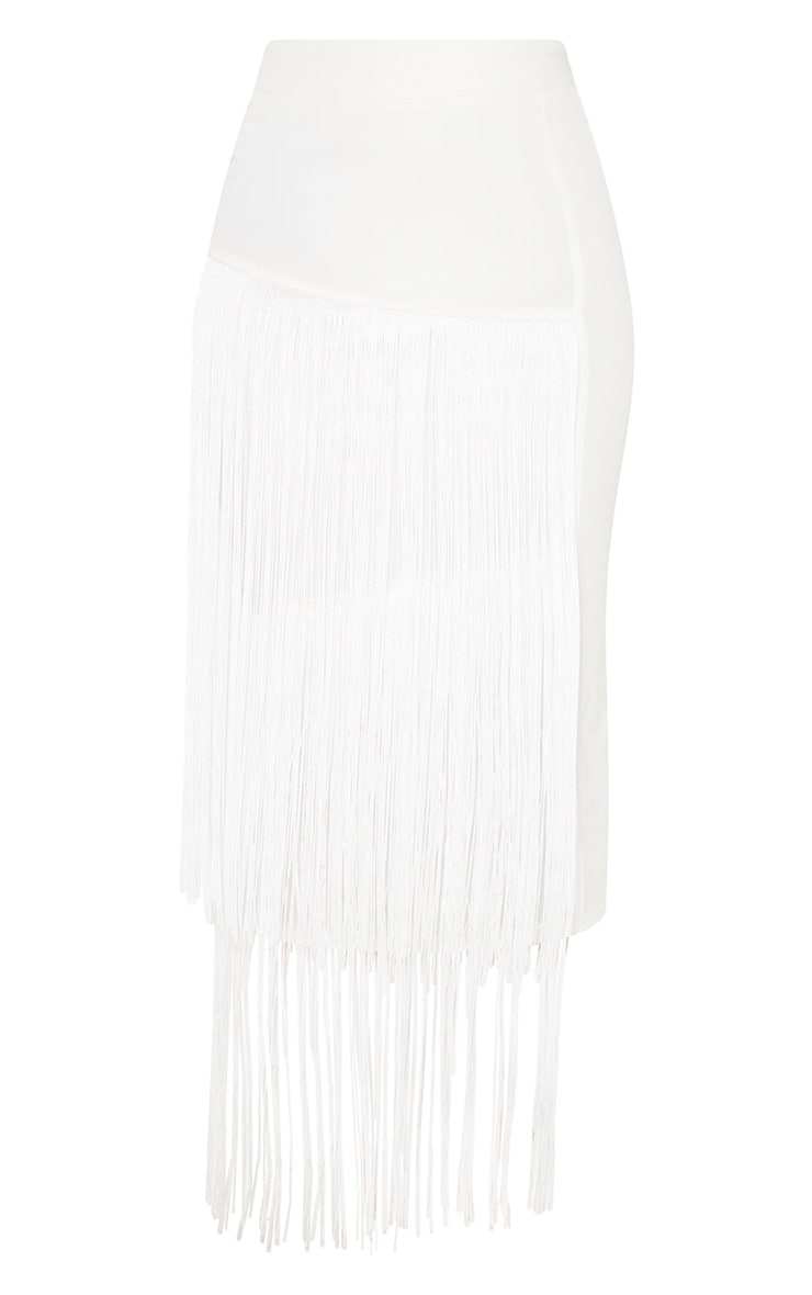 White Fringe Detail Tiered Midaxi Skirt 3