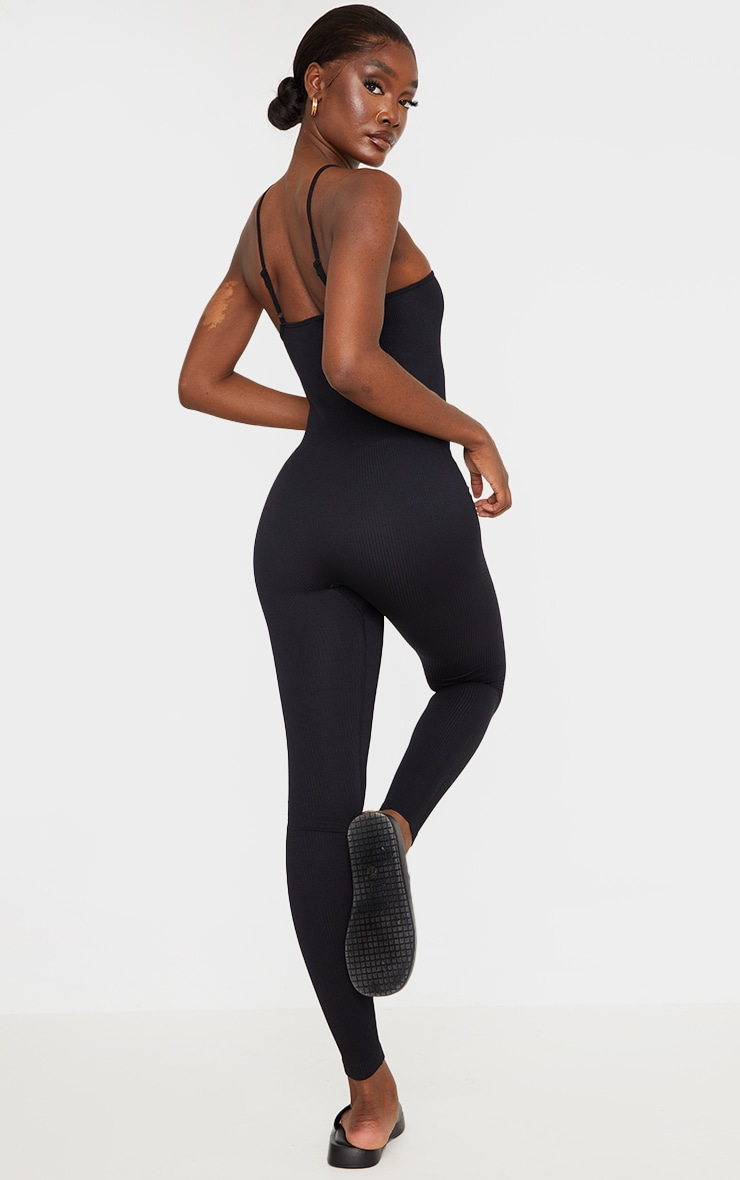 Tall Black Strappy Contour Ribbed Jumpsuit 2