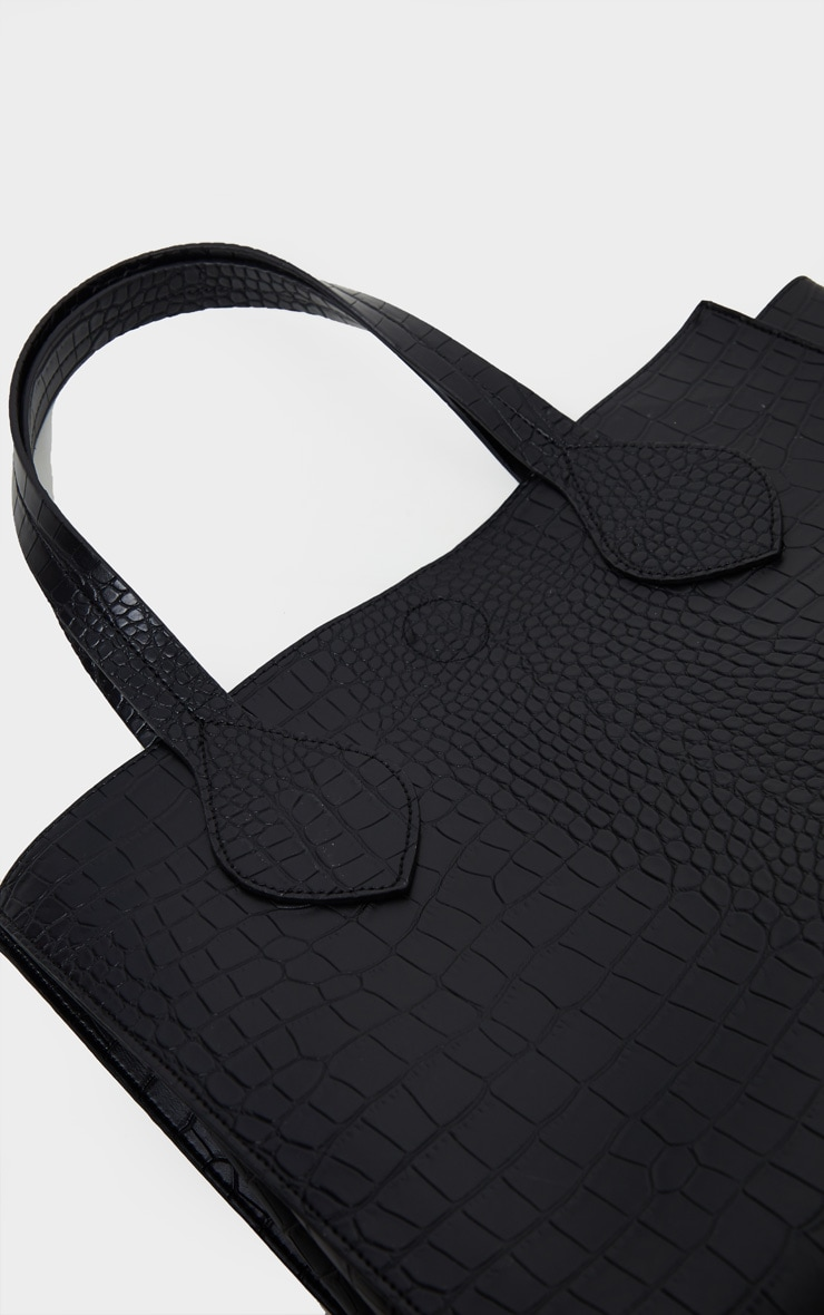 Black Croc Large Tote Bag 3