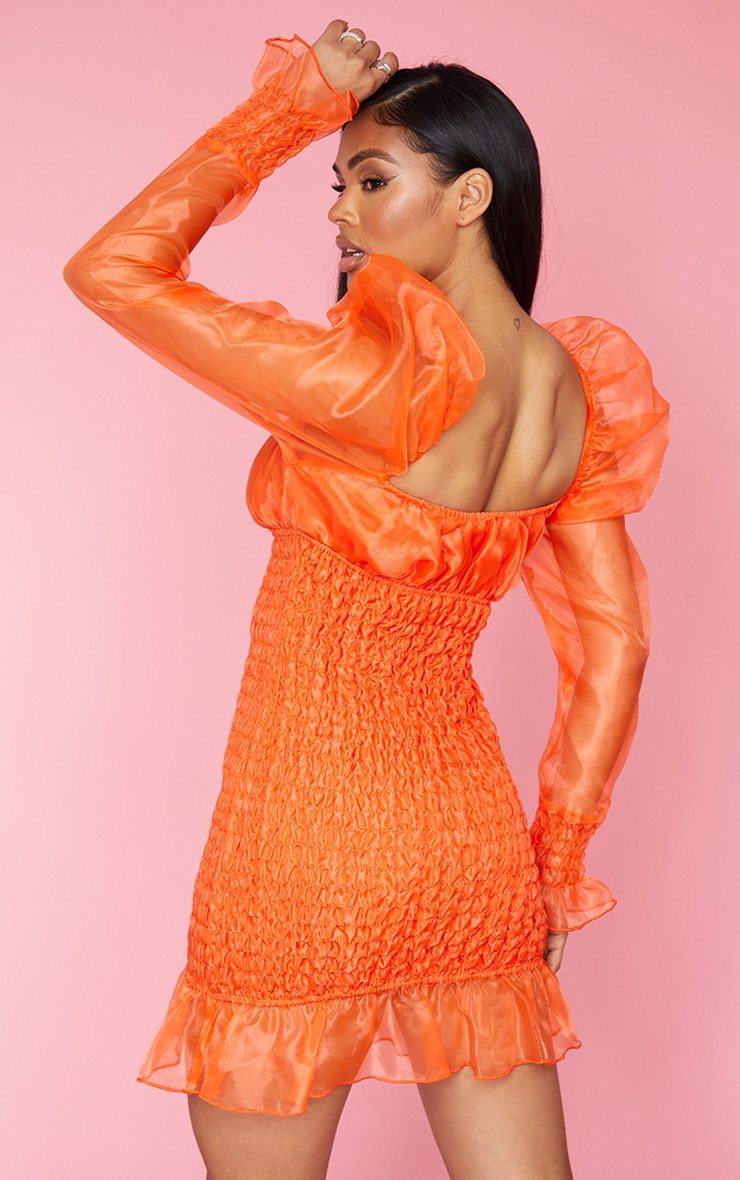 Neon Orange Organza Shirred Puff Sleeve Bodycon Dress 2