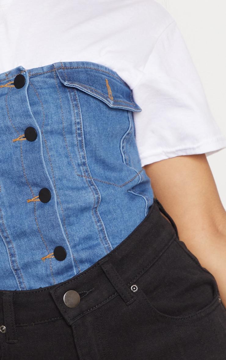 Blue Denim Button Front Bandeau 5