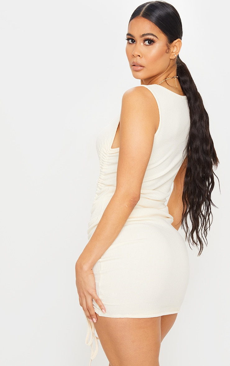 Cream Ribbed Sleeveless Ruched Bodycon Dress 2