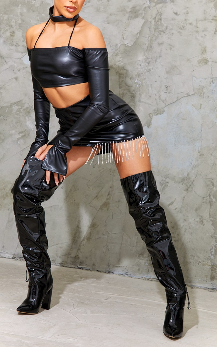 Black Pu Pointed Over The Knee High Heeled Boots 2