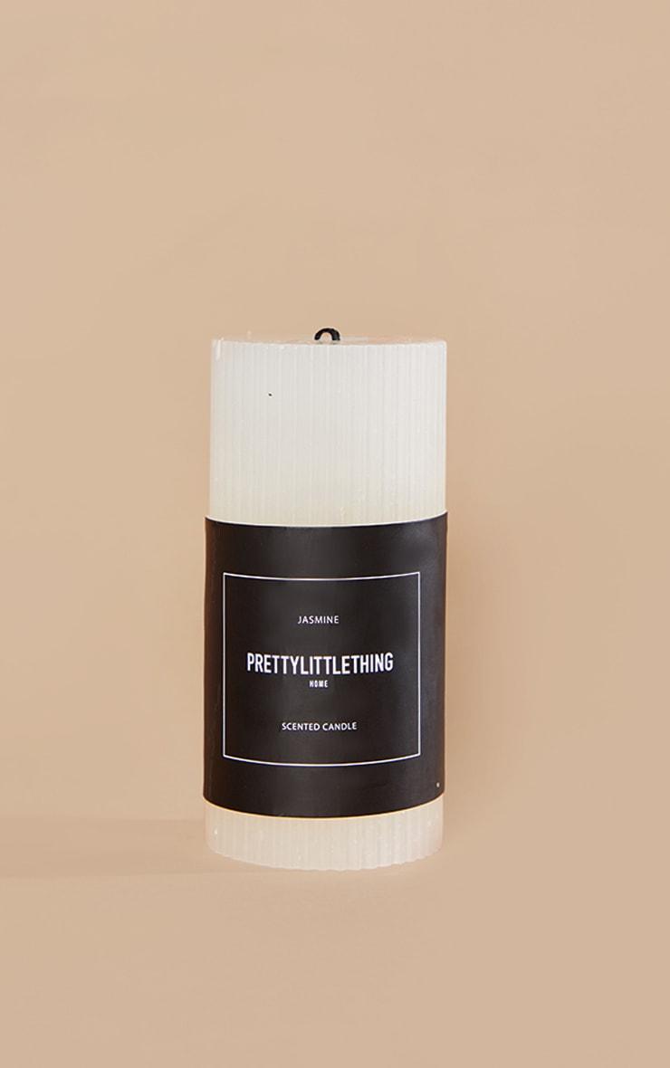 PRETTYLITTLETHING White Large Jasmine Scented Pillar Candle 3