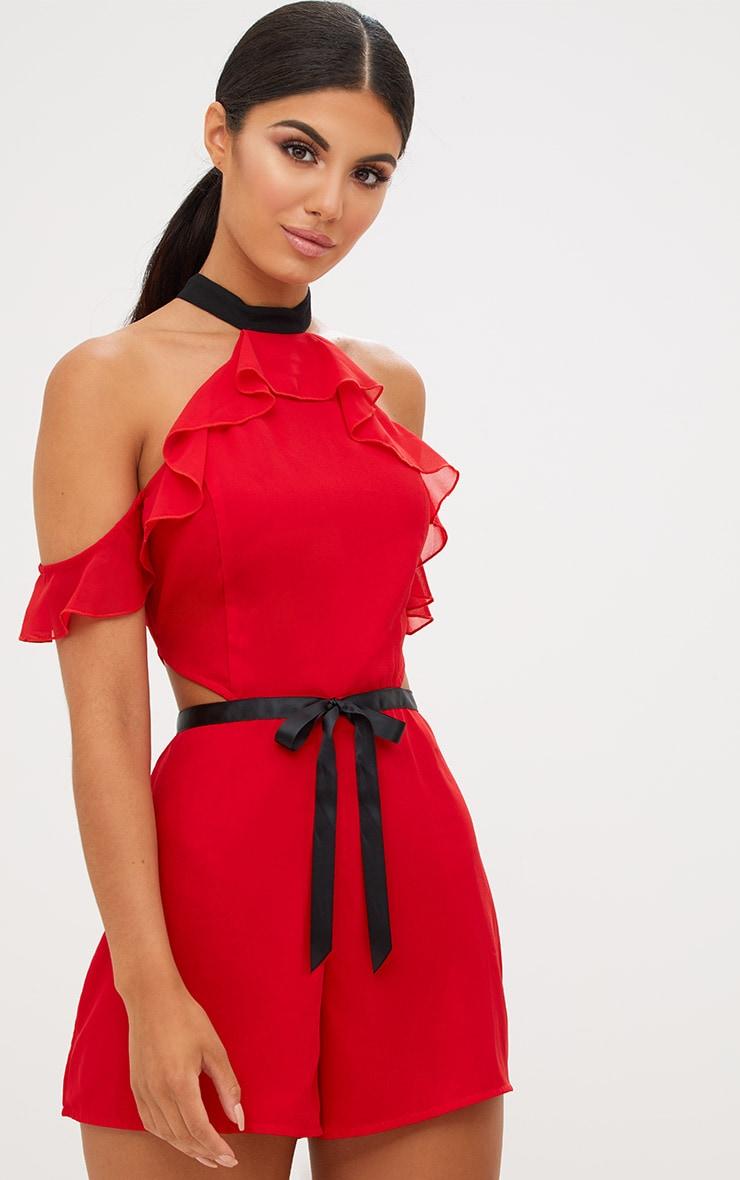 feeb698173b Red Ruffle Cold Shoulder Detail Contrast Playsuit image 1