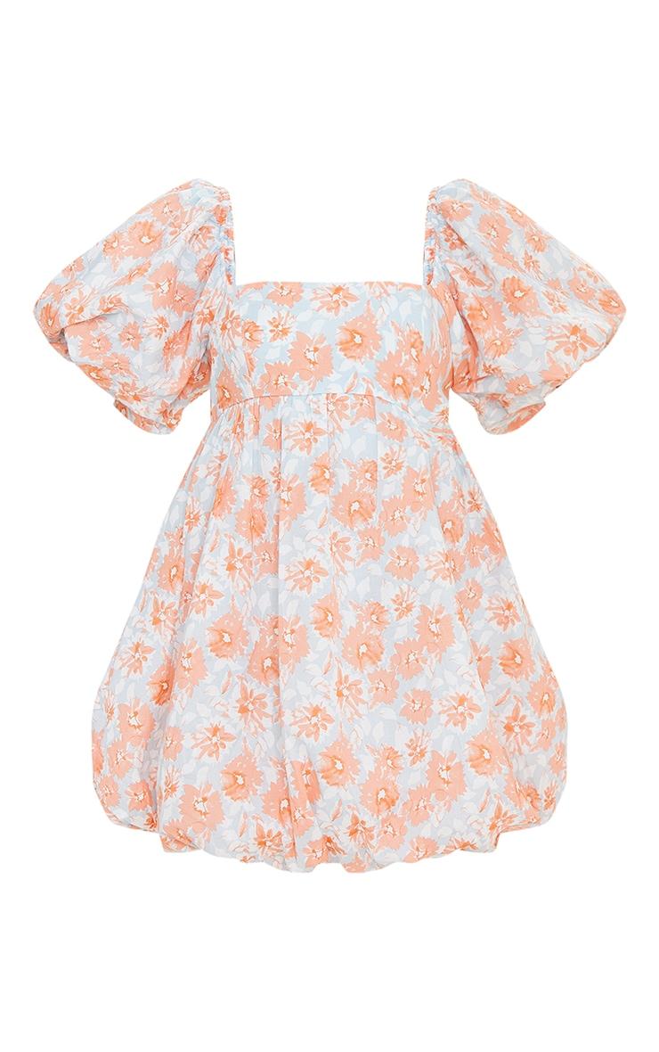 Peach Floral Print Puff Sleeve Puffball Dress 5