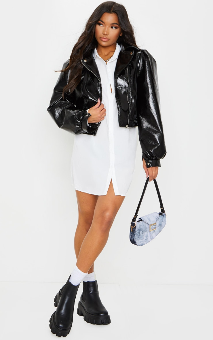 Black Vinyl Puff Sleeve Biker Jacket 1