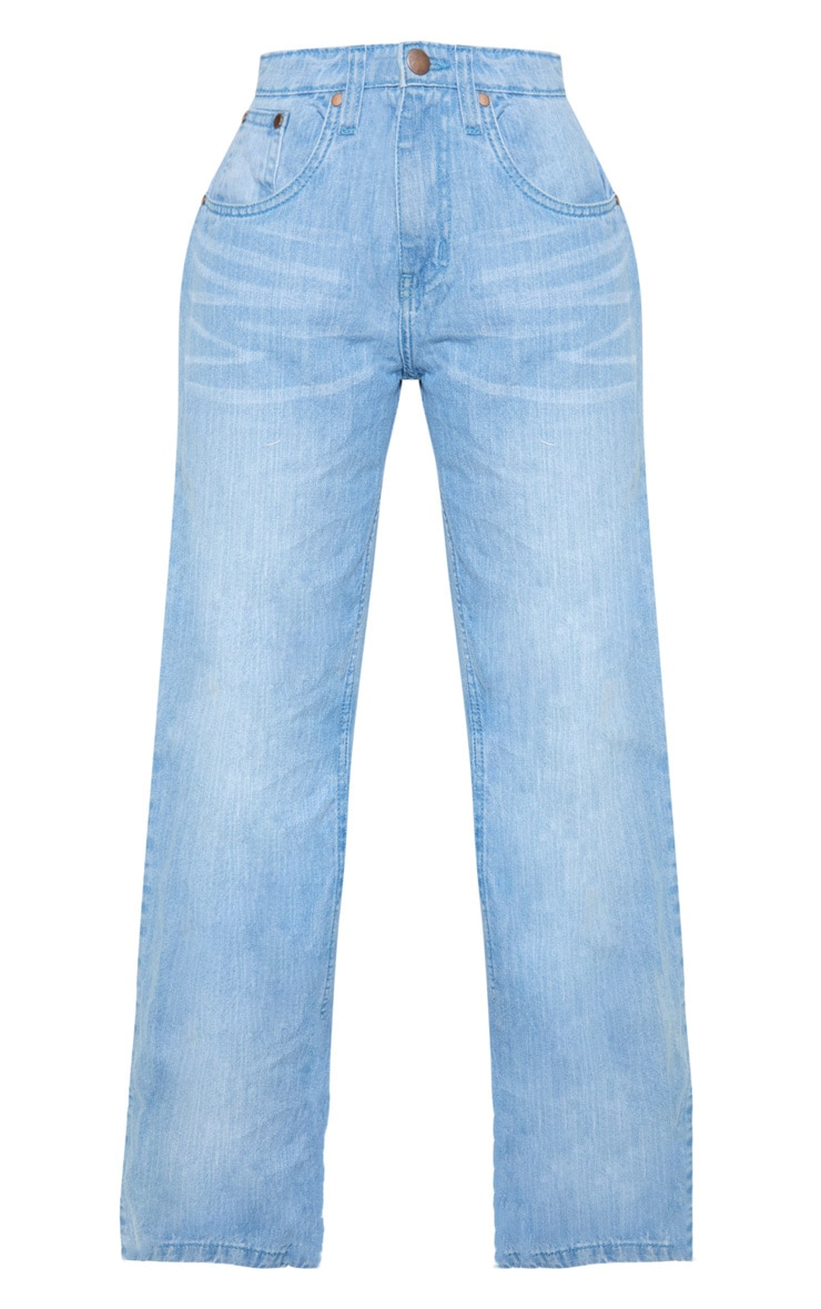 Petite Light Wash Extreme Wide Leg Jean 3