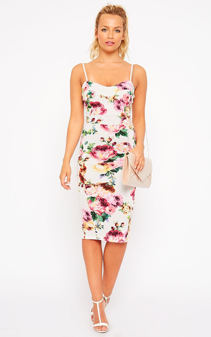 Edrie White Floral Midi Dress 1
