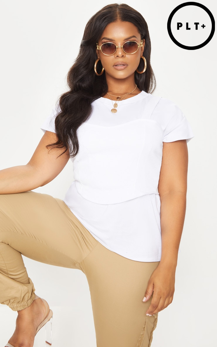 Plus White Ribbed Corset Detail T-Shirt 1