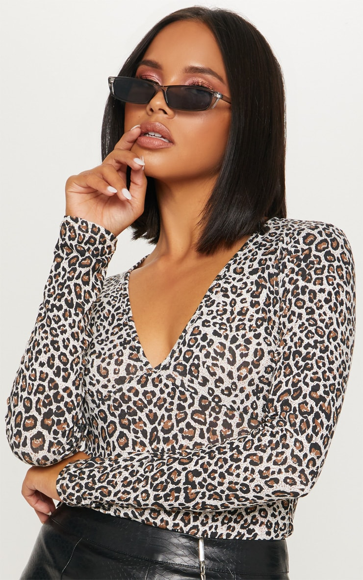 Brown Leopard Long Sleeve Plunge Bodysuit 6
