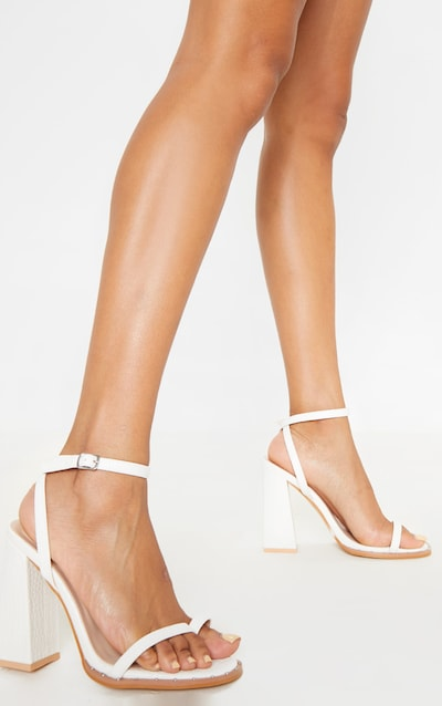 White Croc Toe Loop Block Heel Stud Detail Sandal