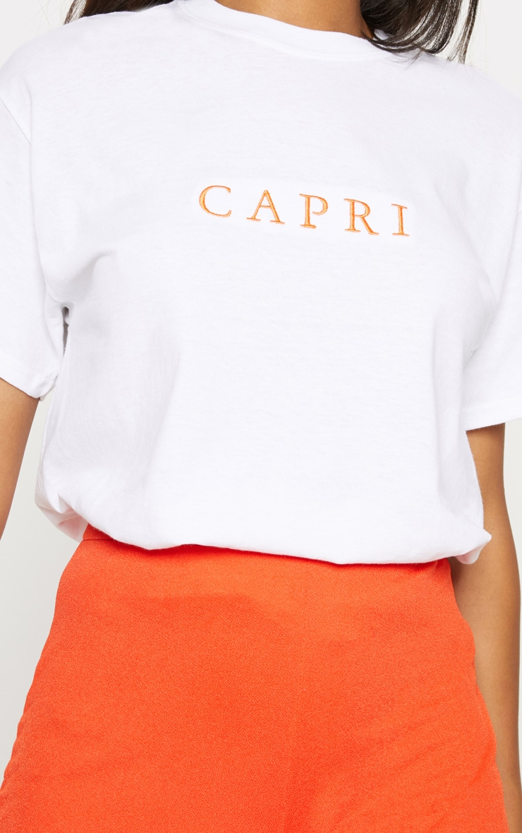 White Embroidered Capri Oversized Tshirt 5