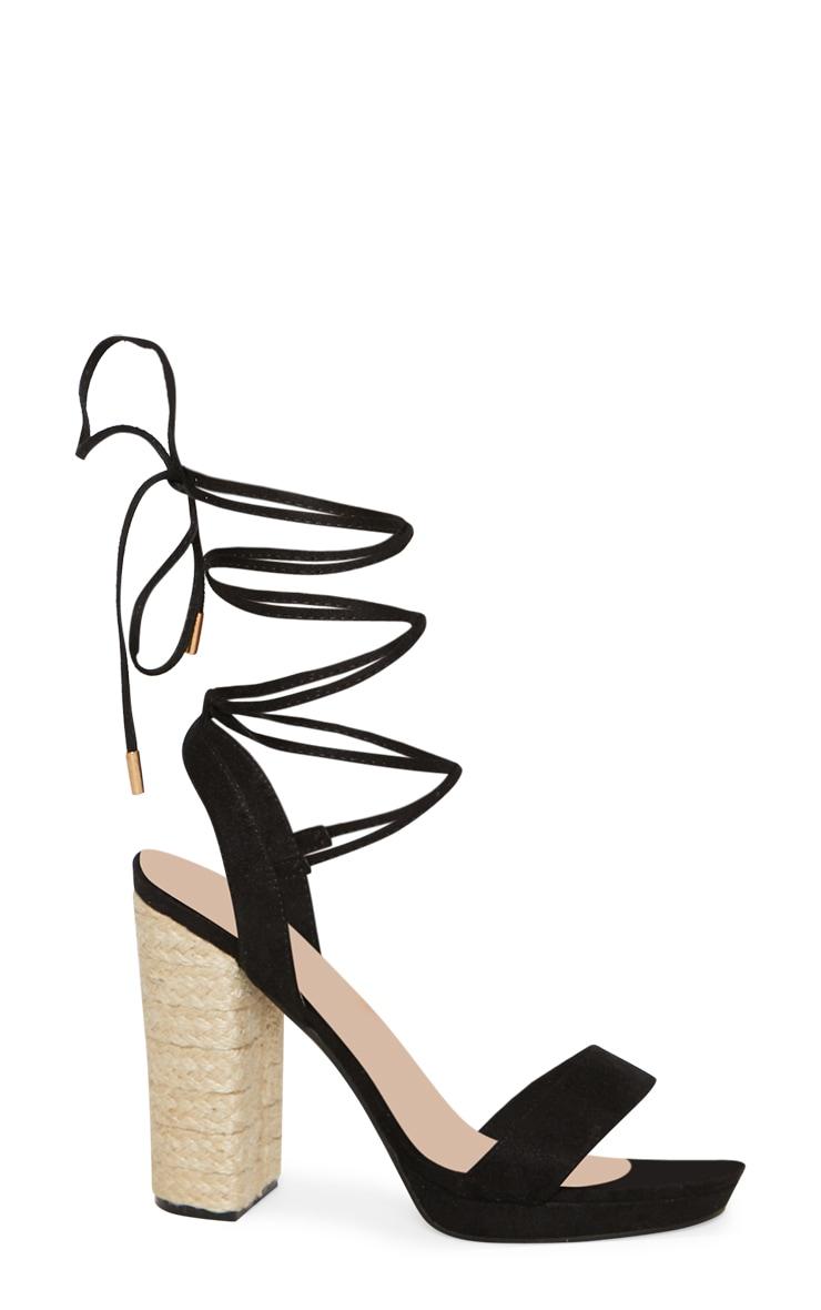 Black Espadrille Platform Leg Tie Sandal 3