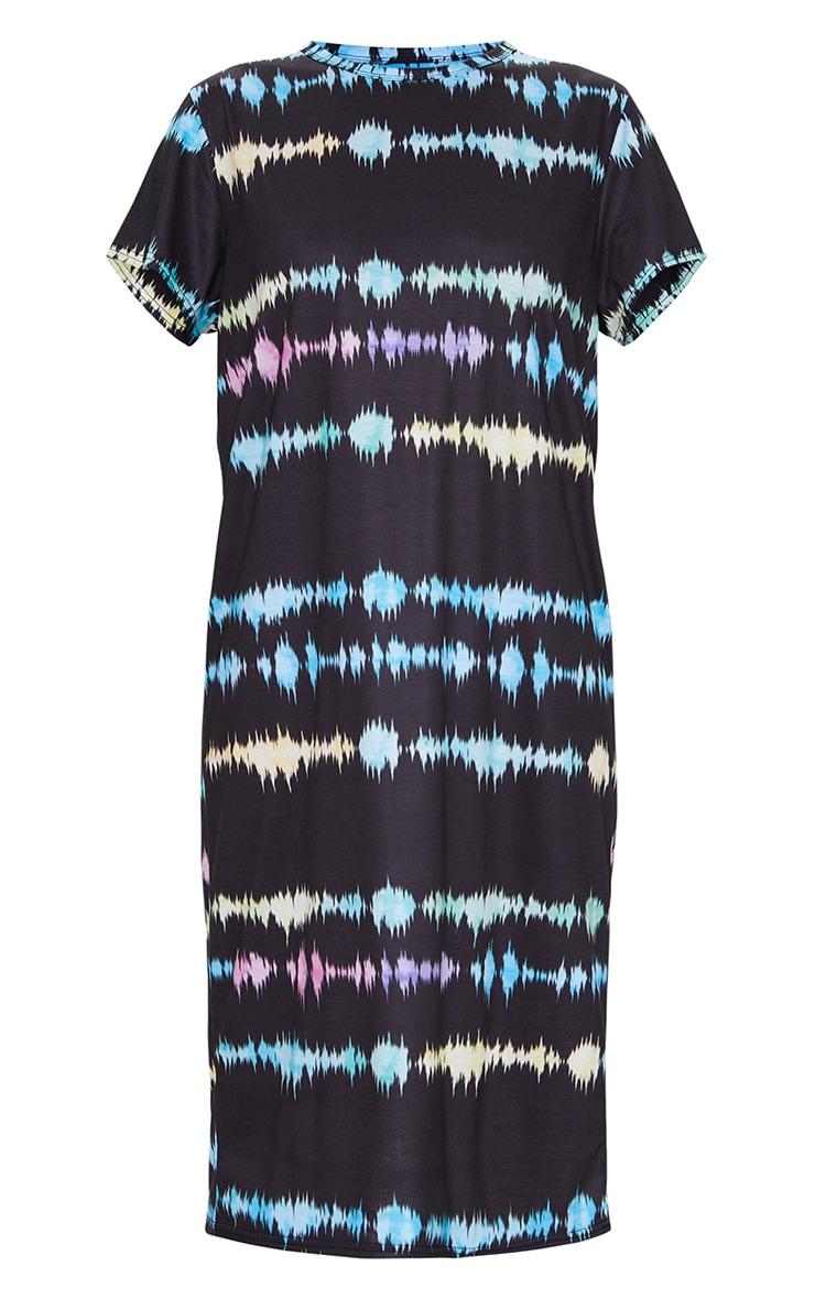 Multi Print Tie Dye Print Midi T Shirt Dress 5