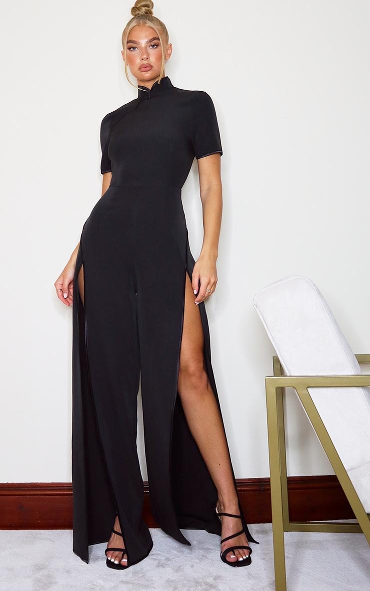 Black Thigh Split Jumpsuit 3