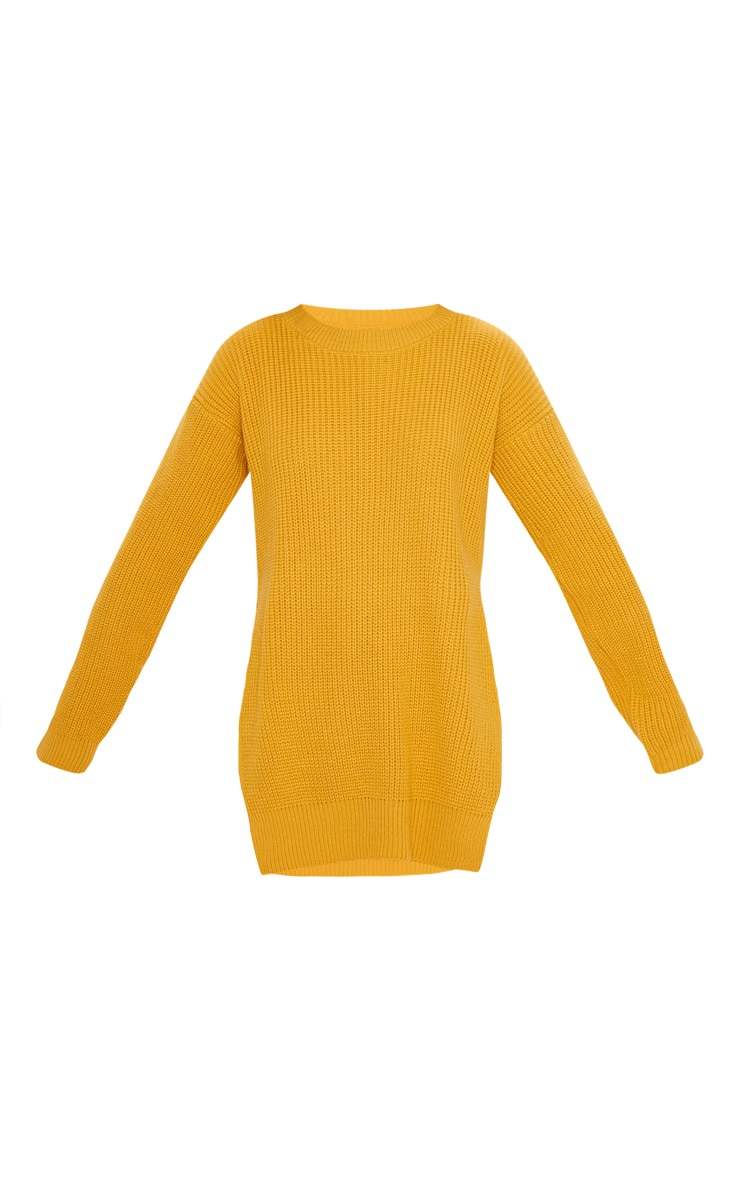 Rexx Mustard Round Neck Side Split Sweater 3